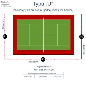"""Kort do tenisa - Piłkochwyty - Typu """"U"""""""