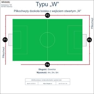 """Piłkochwyty typu """"W"""" - Piłkochwyty dookoła boiska z wejściem """"W"""""""