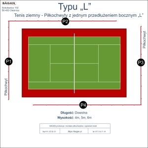 """Ogrodzenie kortu do tenisa - Typu """"L"""""""