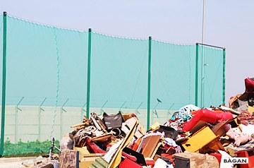Ogrodzenie wysypiska śmieci z siatki sznurkowej